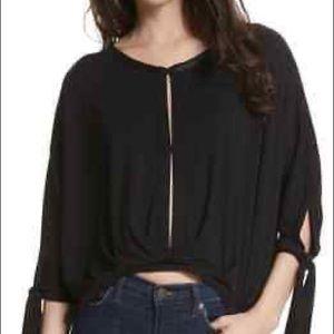 Free People keepin on tie sleeves black blouse L